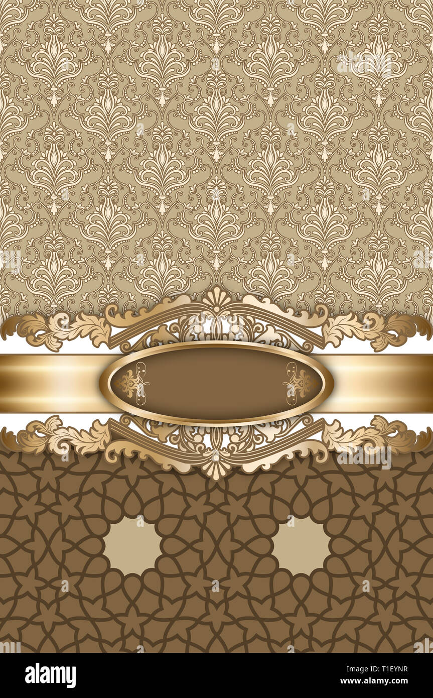 Decorative Vintage Background With Patterns And Frame