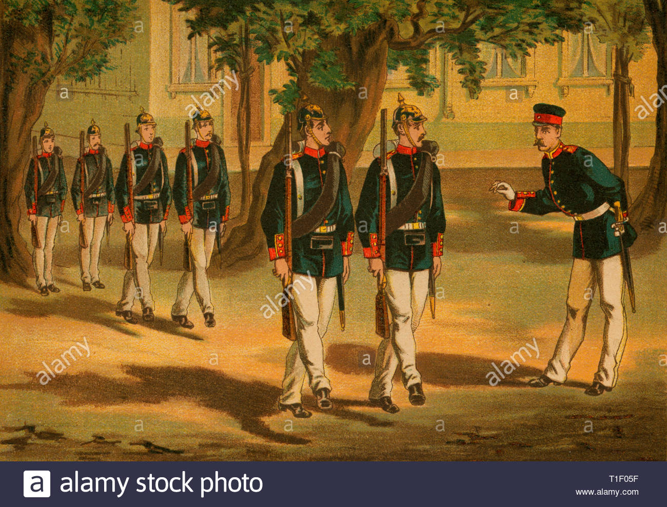 Germany, Thuringia, 4. Thuringian Infantry Regiment No. 95, coulered lithography, about 1890, published by A. Bergmann, Leipzig., Artist's Copyright must also be cleared - Stock Image