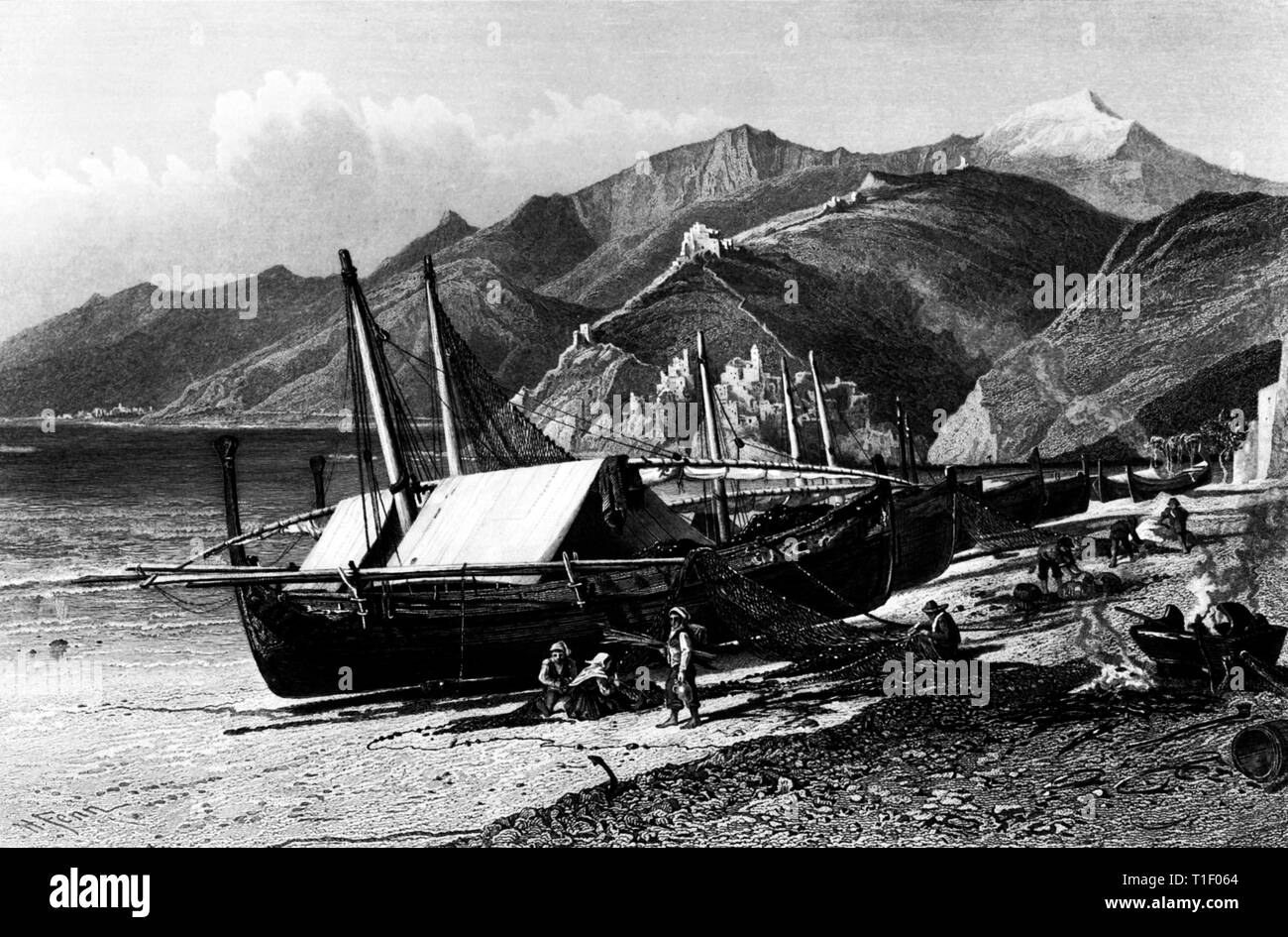 Italy, Ventimiglia, the beach with fishing boats and fishermen, original text: Ventimiglia on the Cornice Road, steel engraving by A. Krausse after Harry Fenn, published by Cassell & Company Ltd., about 1870., Artist's Copyright has not to be cleared - Stock Image