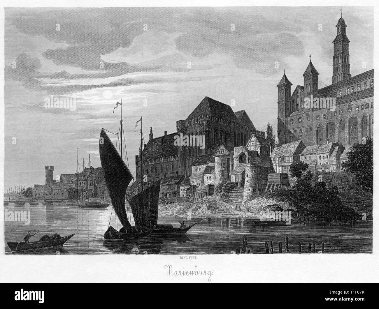 Poland, Woiwodschaft Pomerania, Malbork Castle, in the foreground the Nogat, steel engraving from the Bibliographischen Institut, around 1850., Artist's Copyright has not to be cleared - Stock Image