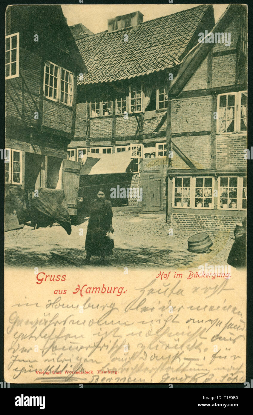 Germany, Hamburg, Gängeviertel with half-timbered houses, courtyard in the Bäckergang, postcard, sent 1900, published by Carl Worzedialek, Hamburg., Additional-Rights-Clearance-Info-Not-Available - Stock Image