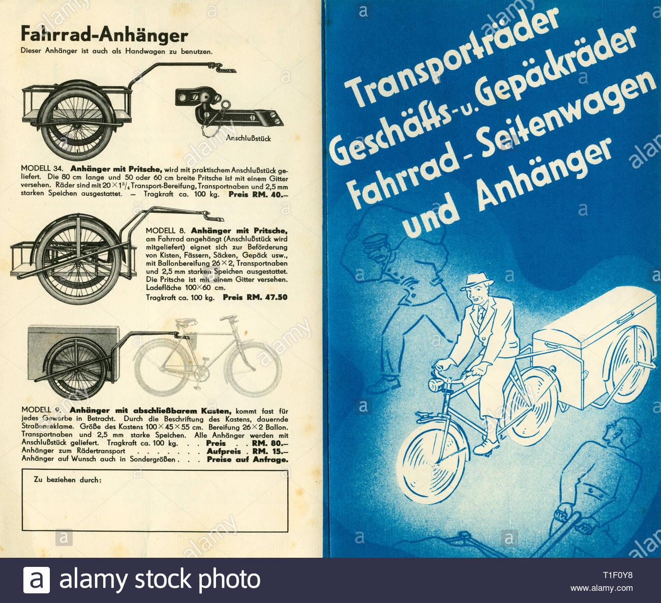 Bicycle brochure of the Bauer company (insolvency 1968), offer for transport bicycles and trailers, you see the first and the last page, published 1936., Artist's Copyright must also be cleared - Stock Image