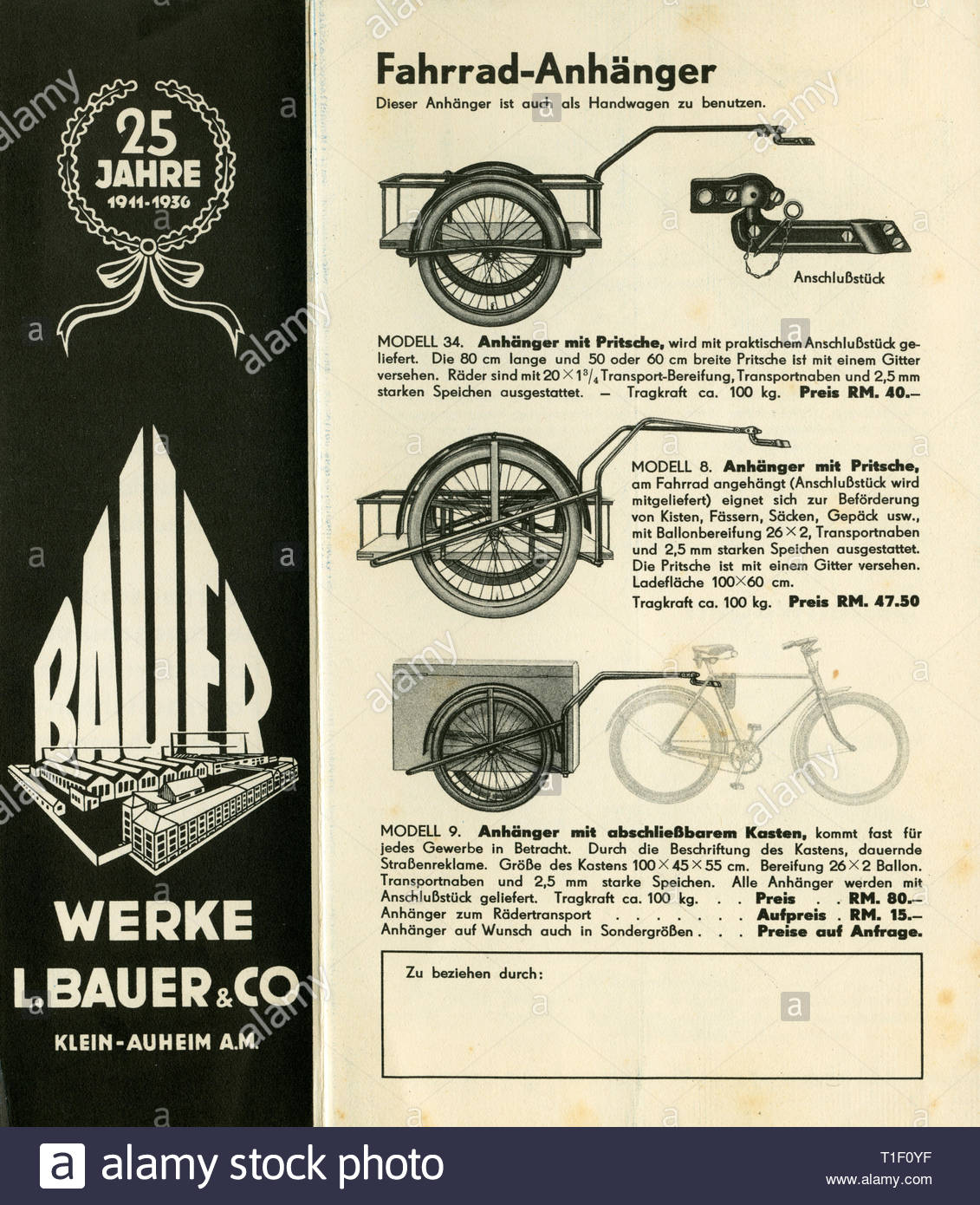 Bicycle brochure of the Bauer company (insolvency 1968), offer for transport bicycles and trailers, you see the last page with an smaller page., Artist's Copyright must also be cleared - Stock Image
