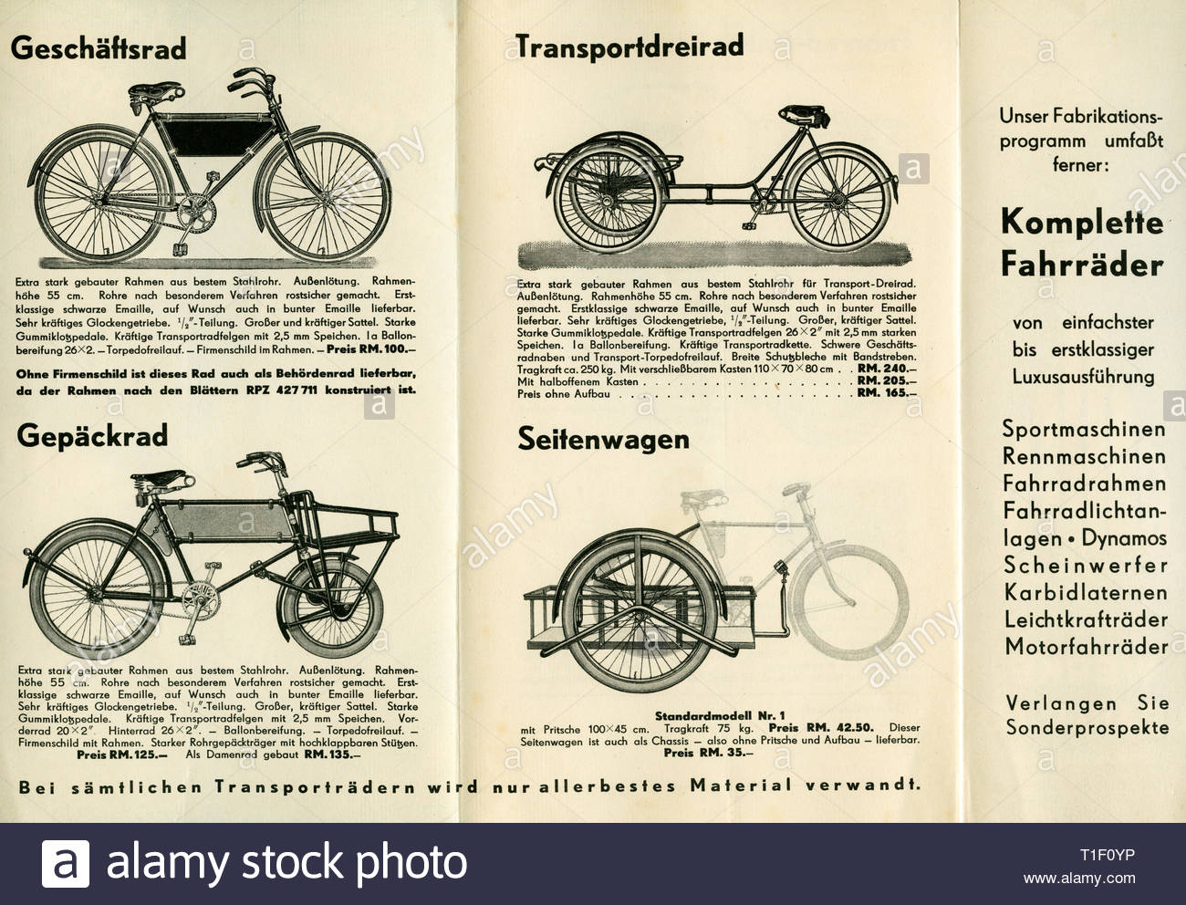 Bicycle brochure of the Bauer company (insolvency 1968), offer for transport bicycles and trailers, you see the pages inside of the brochure, published 1936., Artist's Copyright must also be cleared - Stock Image