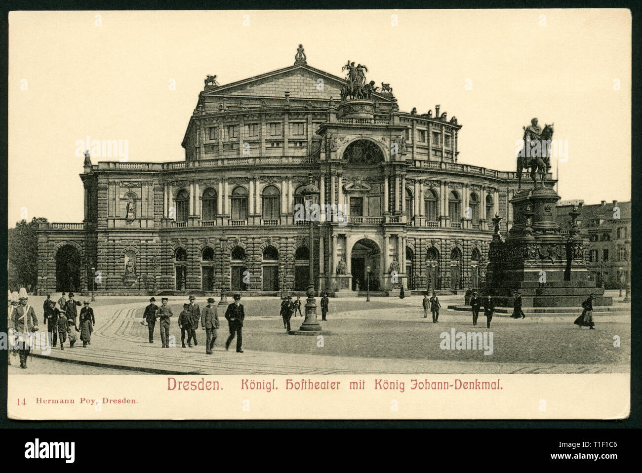 Germany, Saxony, Dresden, Royal Theatre and the monument of King Johann, postcard, probably between 1900-1914., Additional-Rights-Clearance-Info-Not-Available - Stock Image