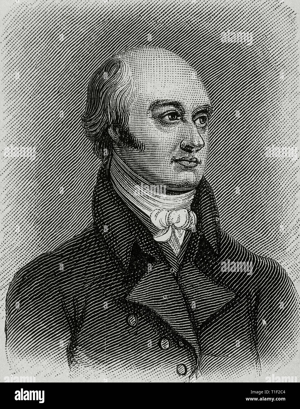 George Canning (1770-1827). British Prime Minister. Engraving by Freeman. - Stock Image
