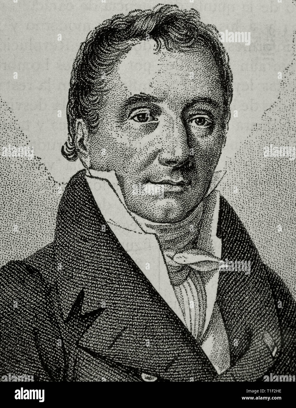 Pierre Paul Royer-Collard (1763-1845). Politician and French philosopher. Engraving. - Stock Image