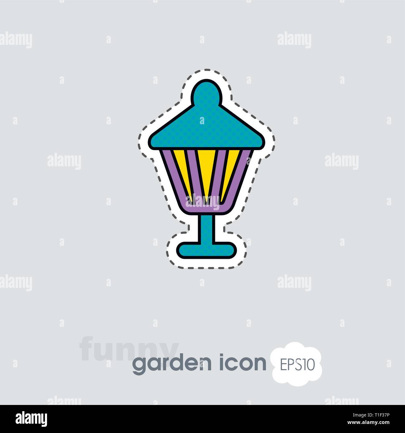 Garden lantern flat vector icon outline isolated, garden, eps 10 - Stock Vector