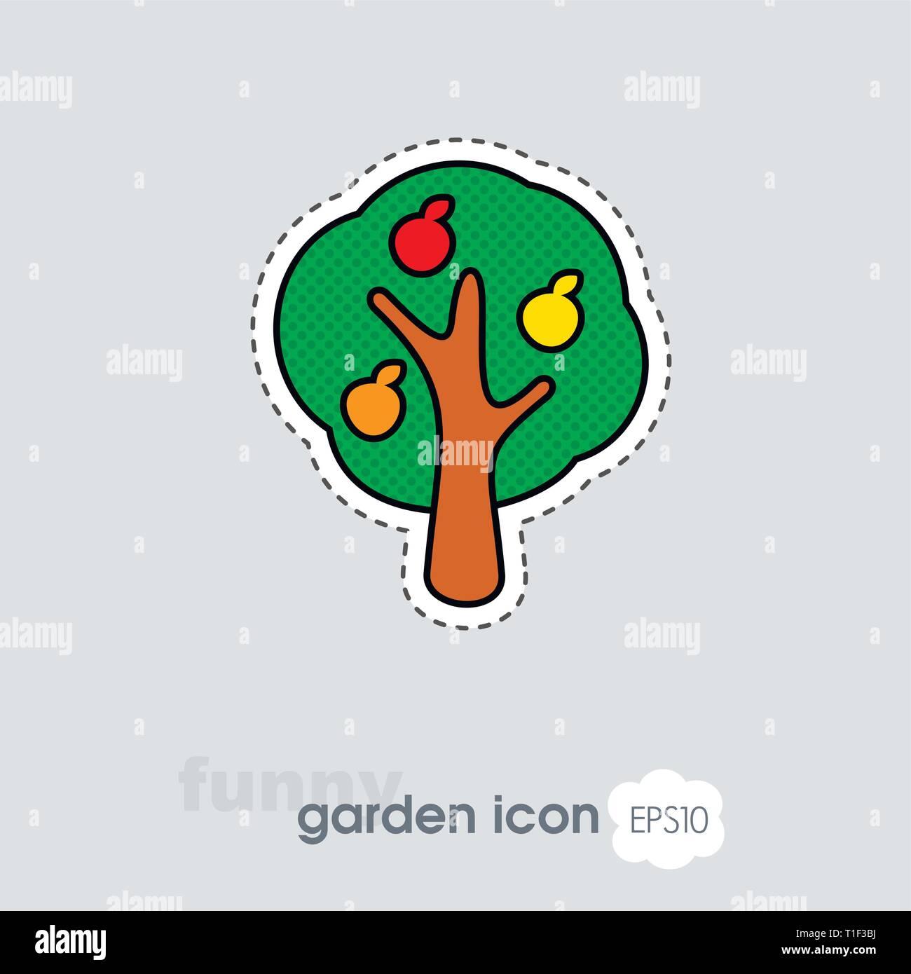Fruit tree flat vector icon isolated, garden, eps 10 - Stock Vector