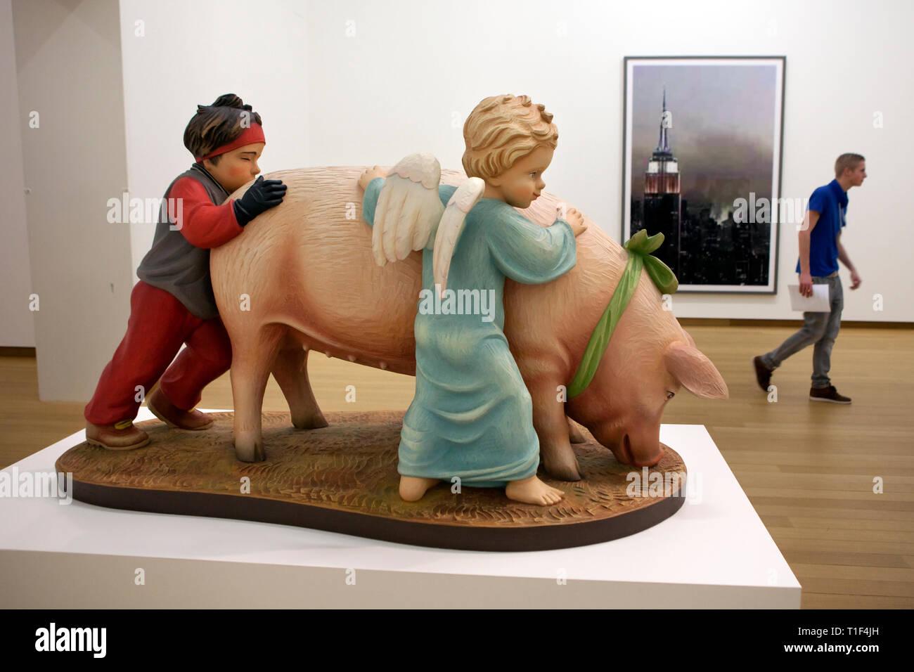 AMSTERDAM - Jeff Koons sculpture entitled: 'Ushering in Banality' in the Stedelijk Museum. - Stock Image