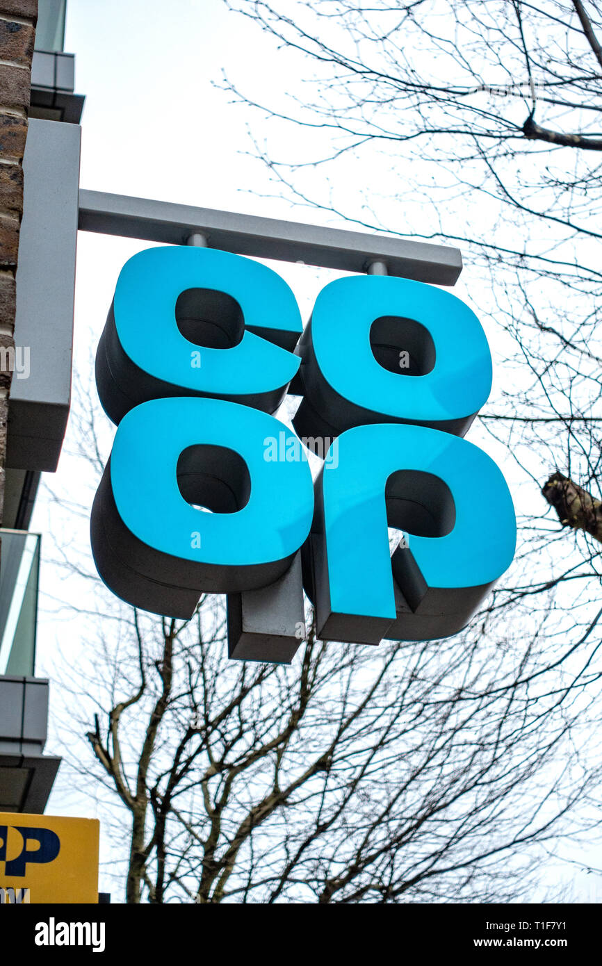 Three-dimensional coop shop sign, logo - Stock Image