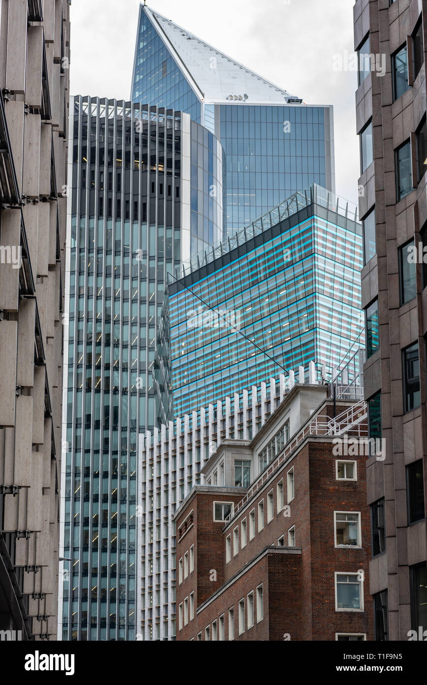 Square Mile skyscrapers tower over Mincing Lane in the City of