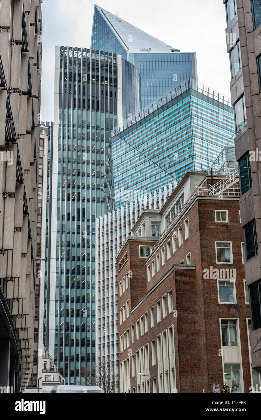 Square Mile skyscrapers tower over Mincing Lane in the City of London - Stock Image