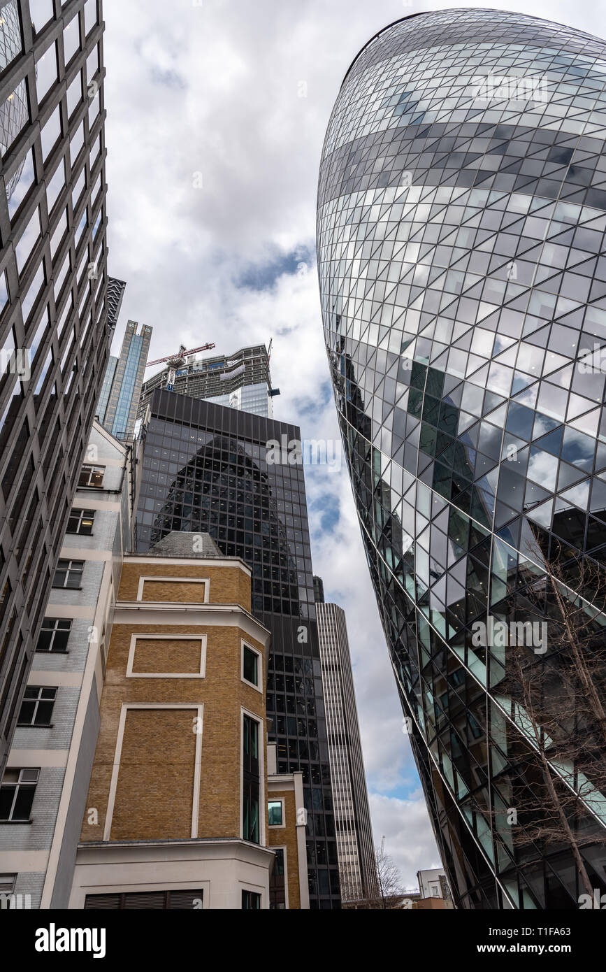 The race skywards. City skyscrapers in the financial district, 'Square Mile of London'. - Stock Image