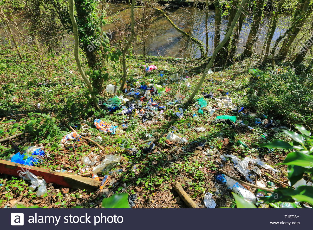 Discarded Rubbish Thrown Down The Embankment To The River Tame At Dukinfield UK - Stock Image
