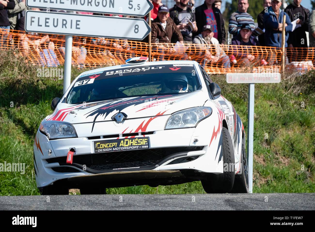30th edition of the Rallye des Vignes at Régnié-Durette in Beaujolais. Sports car. - Stock Image