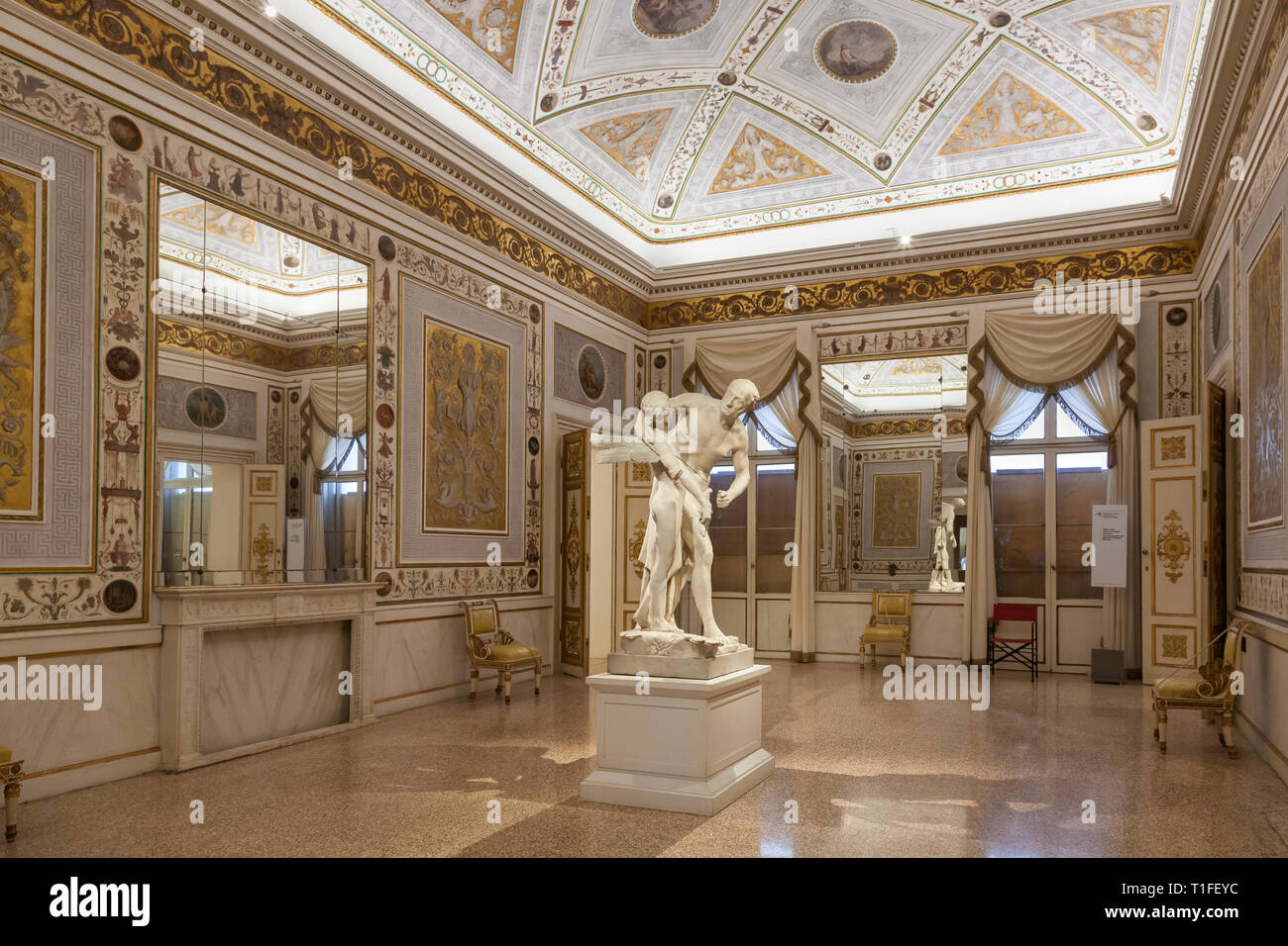 Throne Room in the Correr Museum, Museo Correr,  with  1779 statue of Daedalus and Icarus by Antonio Canova in Neoclassic style , Venice, Veneto, Ital - Stock Image