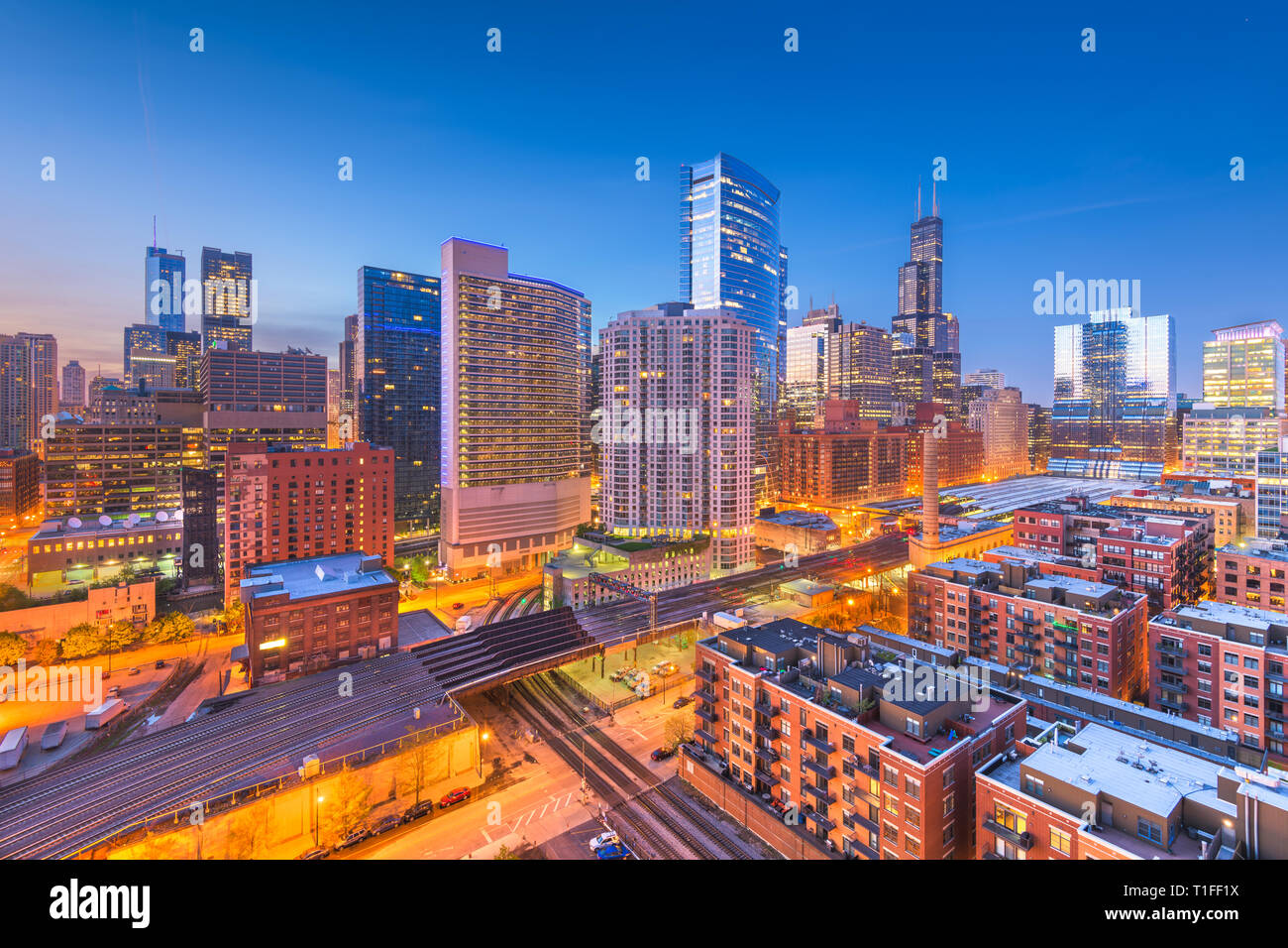 Chicago, Illinois, USA downtown cityscape at dusk. - Stock Image