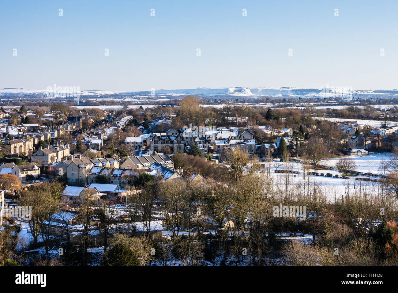 A view looking across a snowy Georgian Bradford on Avon in the sun Wiltshire, UK Stock Photo