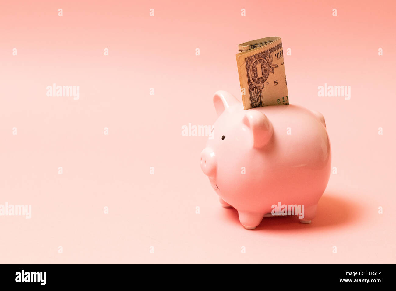 Piggy bank with dollar on living coral background. Commercial concept Stock Photo
