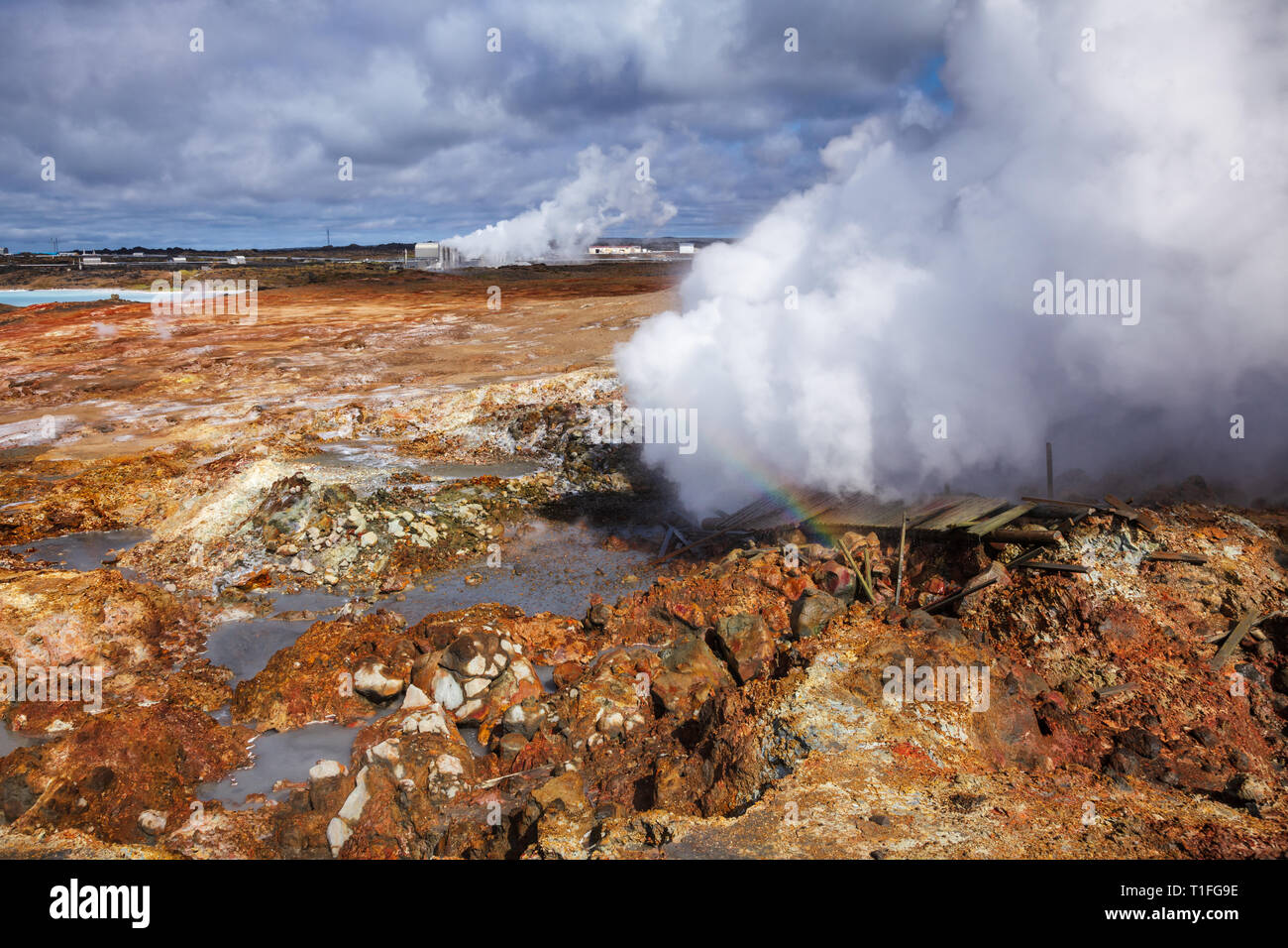 Damaged broadwalk near steaming fumarole at  Gunnuhver geothermal area, part of the Blue Diamond tourist route in Reykjanes Peninsula, Southern Icelan - Stock Image