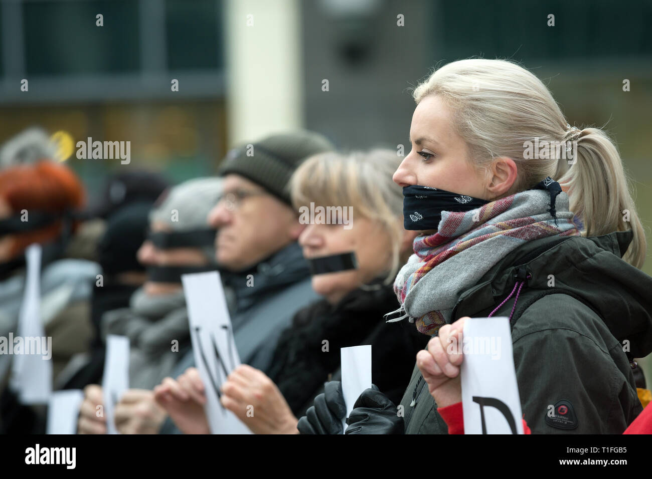 21.01.2018, Poznan, Wielkopolska, Poland - Action by KOD (Committee for the Defense of Democracy) against the standardization of justice and censorshi - Stock Image