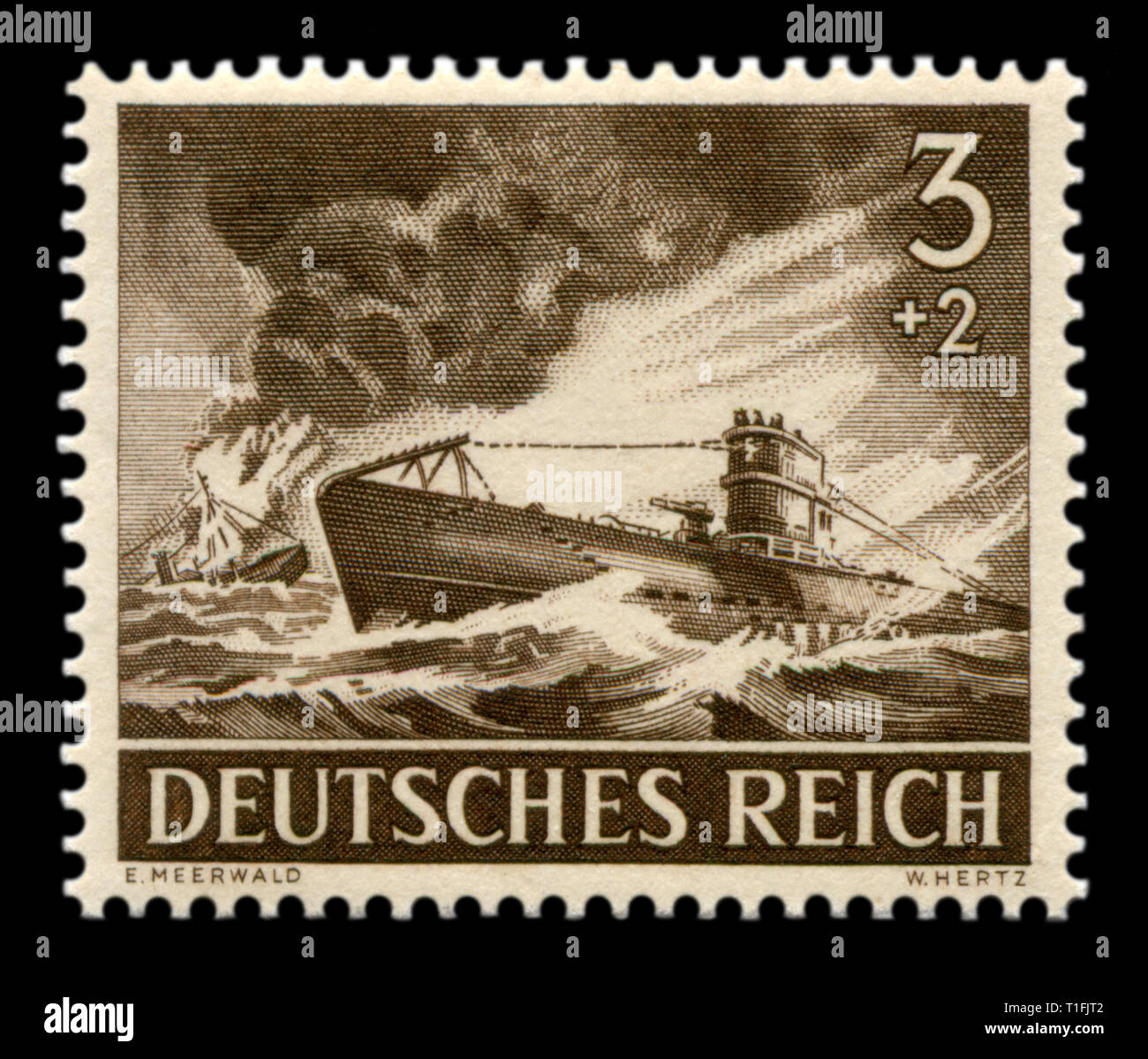 German historical stamp: u-boat type VII A, the most common submarine Kriegsmarine, the enemy ship is burning and sinking, Wehrmacht, memorial day 43 - Stock Image