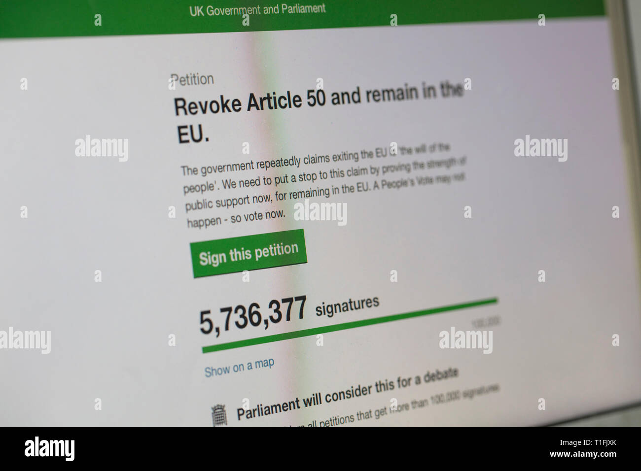 LONDON, UK - March 26th 2019:  Online petition to revoke article 50 and reconsider brexit has over 5 million signatures - Stock Image
