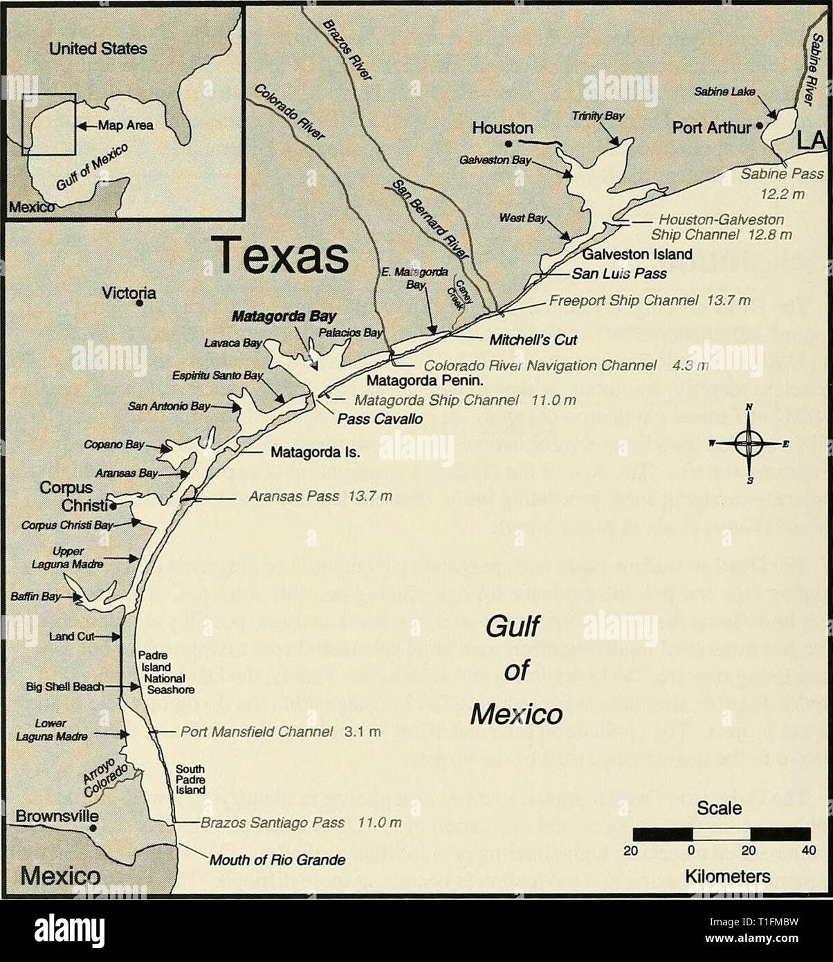 DMS  Diagnostic Modeling System DMS : Diagnostic Modeling System  dmsdiagnosticmod00krau Year: 2000  Matagorda Bay Matagorda Bay is located in the central region of the Texas coast (Figure 1) and is one of seven major estuarine systems of the State, if Matagorda Bay and East Matagorda Bay are considered as part of the same system. Several smaller bays, notably Lavaca Bay, Carancahua Bay, Tres Palacios Bay, and Espiritu Santo Bay directly connect to Matagorda Bay. Surface area of Matagorda Bay is estimated at 425 square miles' (Ward 1982), making it second in size to Galveston Bay of the Texas  - Stock Image