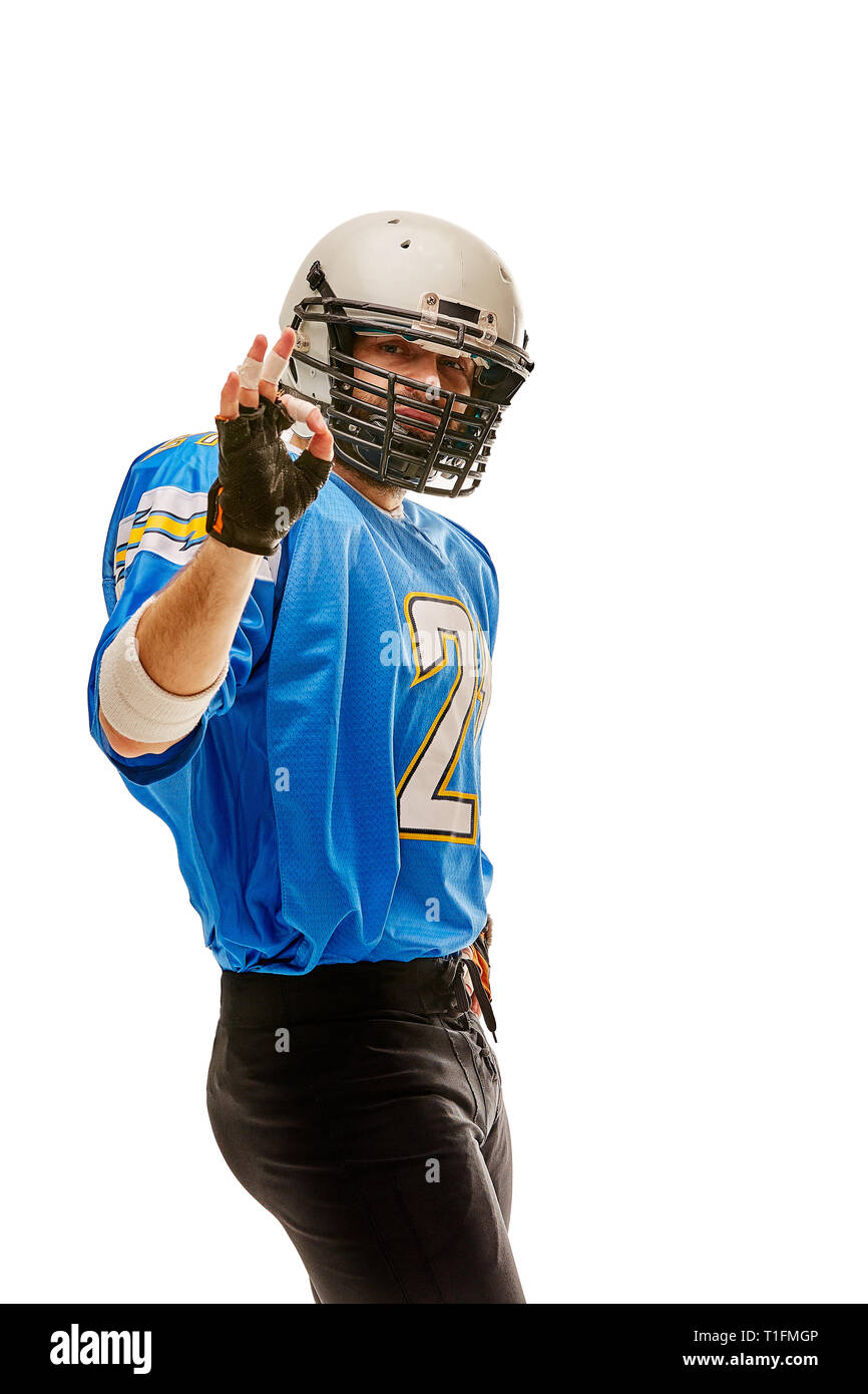 Proud american football player on white background - Stock Image
