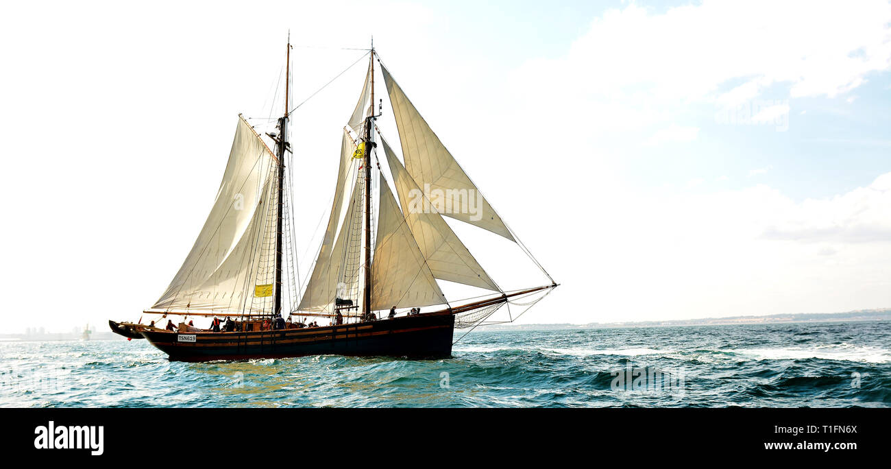 Out in the North sea with the Tall Ships Race, Sunderland 2018, Northeast UK - Stock Image