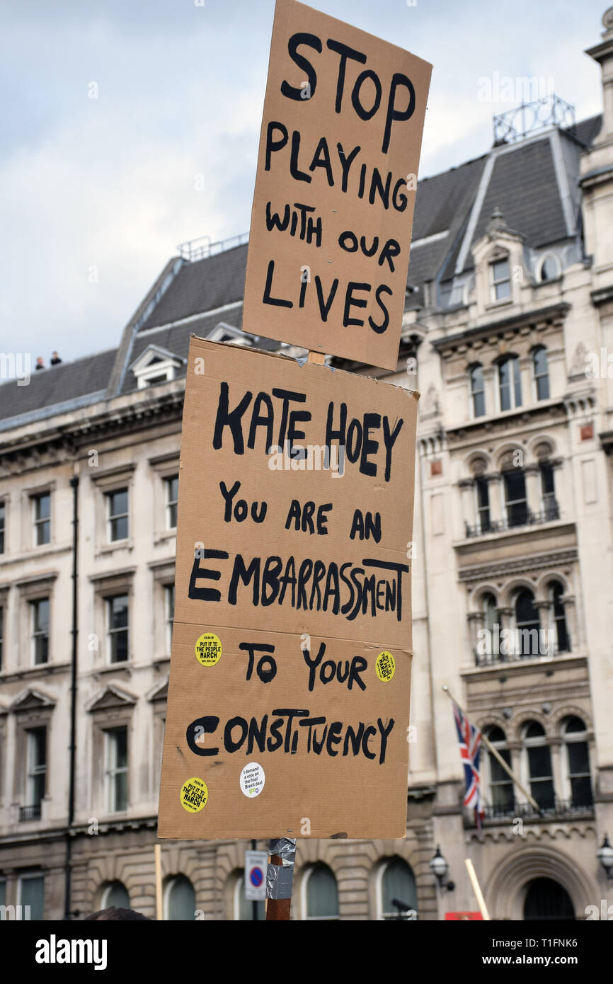 Put it to the People demonstration in central London against Brexit and an appeal for a Peoples Vote on a final Deal. London UK 23 March 2019 Stock Photo