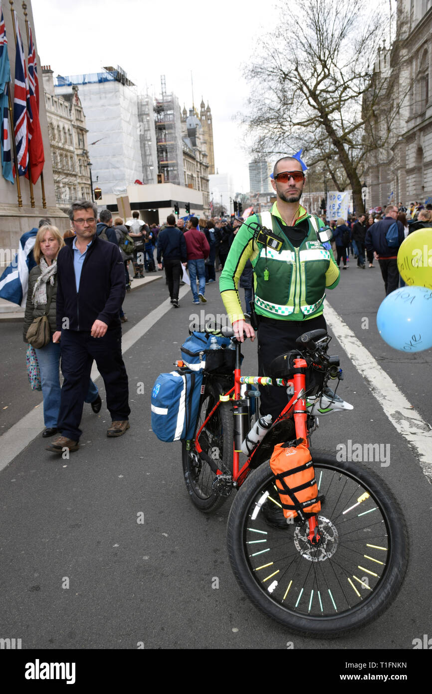 Paramedic at Put it to the People demonstration in central London against Brexit and an appeal for a Peoples Vote on a final Deal. London UK 23 March  - Stock Image