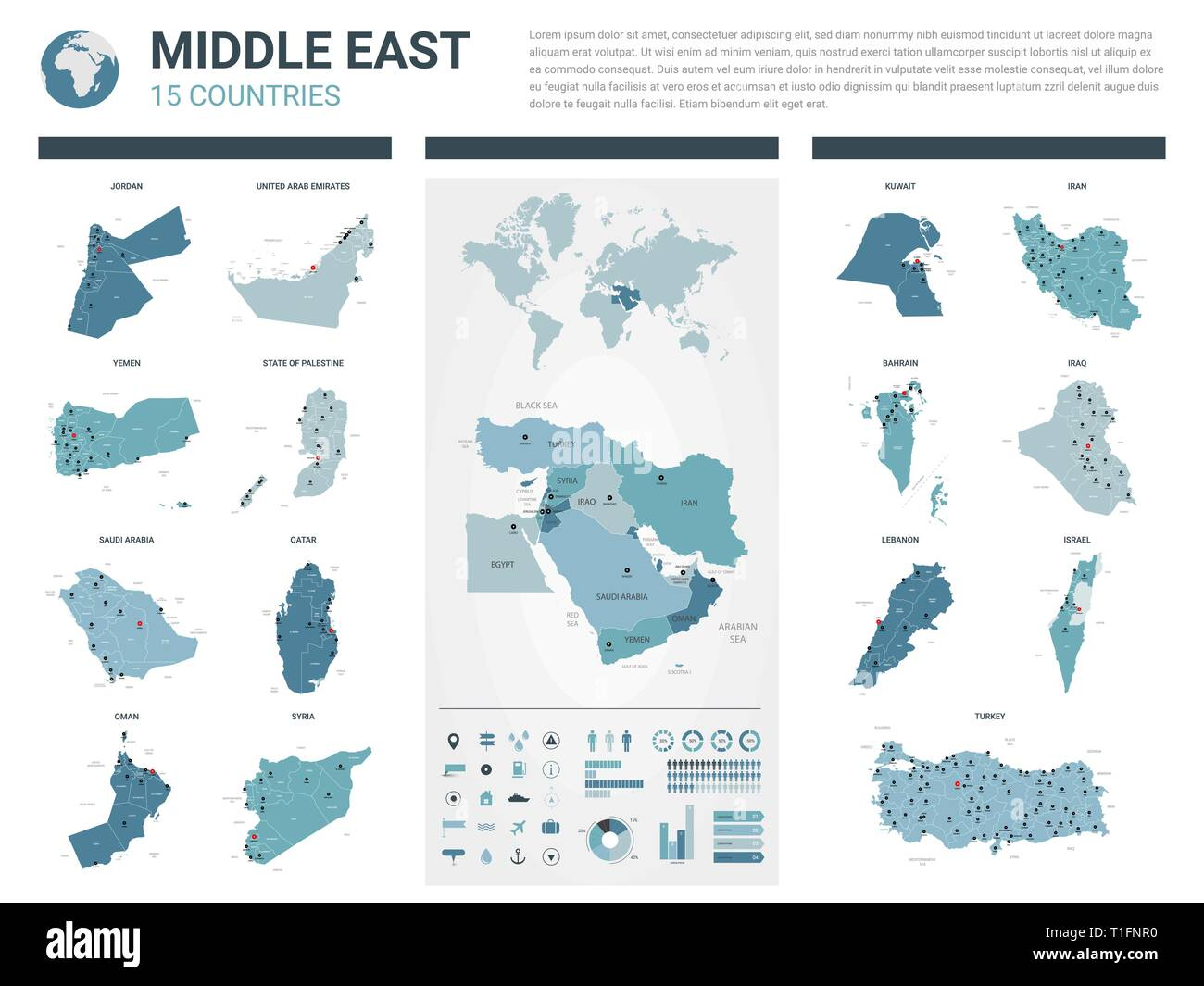 Picture of: Vector Maps Set High Detailed 15 Maps Of Middle East Countries With Administrative Division And Cities Political Map Map Of Middle East Region Stock Vector Image Art Alamy