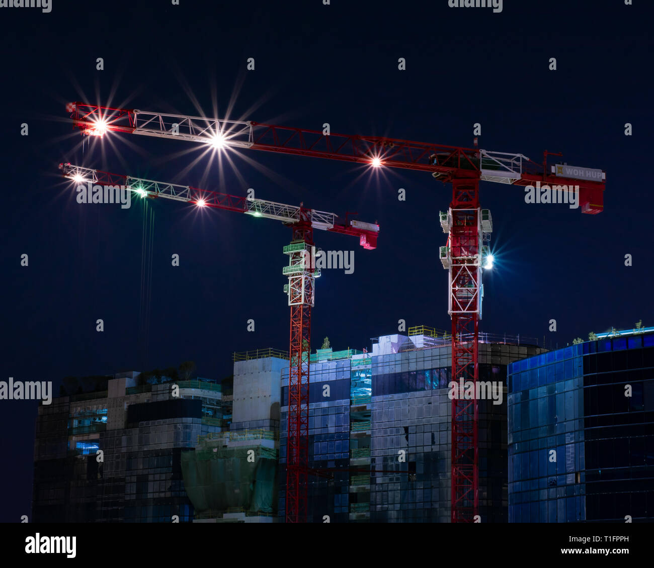 Work in Progress. Night construction for an office in Woodlands Stock Photo