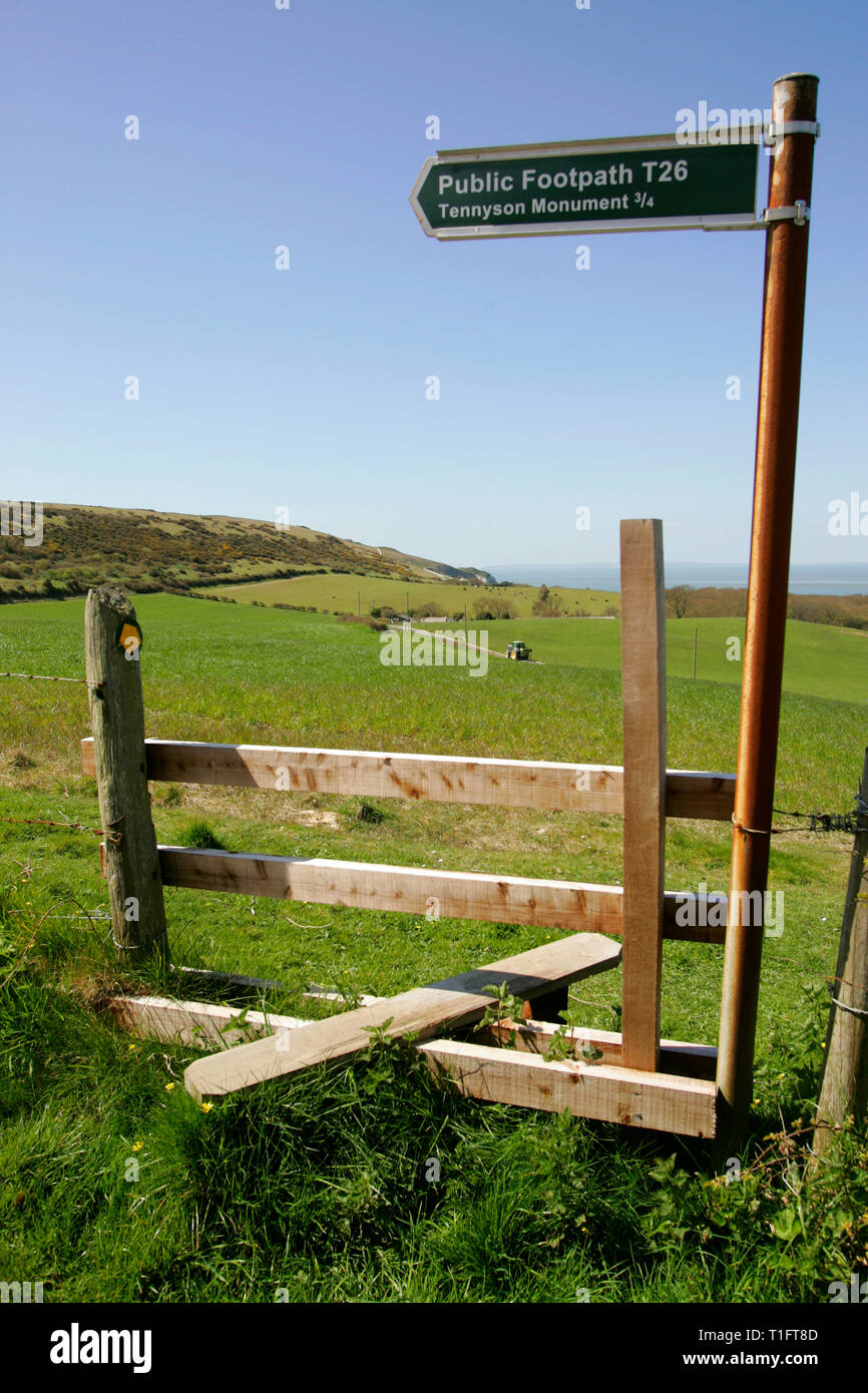 footpath,style,footpath,sign,bridleway,Alum Bay, The Needles,Isle of Wight, England,UK, - Stock Image