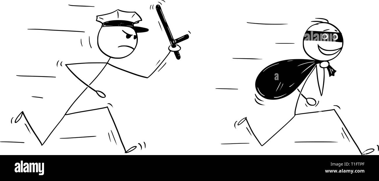 Cartoon stick figure drawing conceptual illustration of smiling thief running with bag of loot and policemen chasing him. - Stock Image