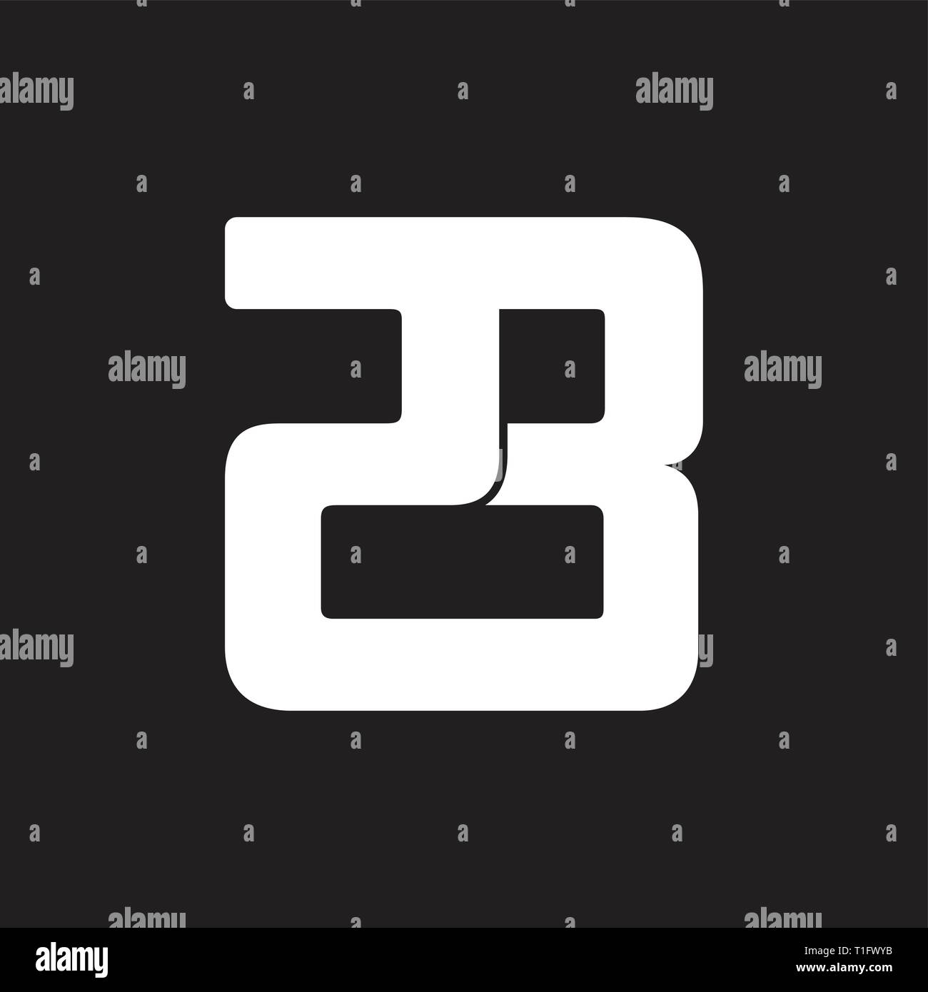 number 23 simple geometric line logo vector - Stock Vector