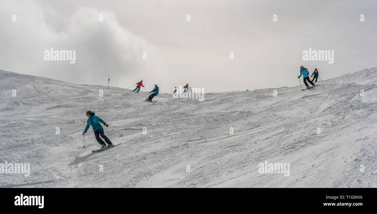 Tourists downhill skiing, Whistler, British Columbia, Canada - Stock Image