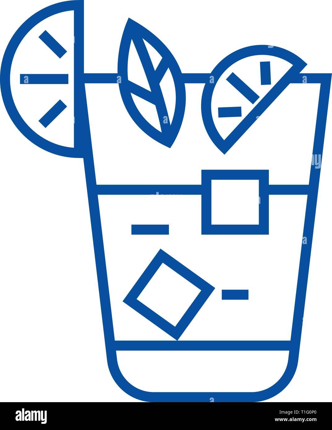 Aperitif, beverage line icon concept. Aperitif, beverage flat  vector symbol, sign, outline illustration. Stock Vector