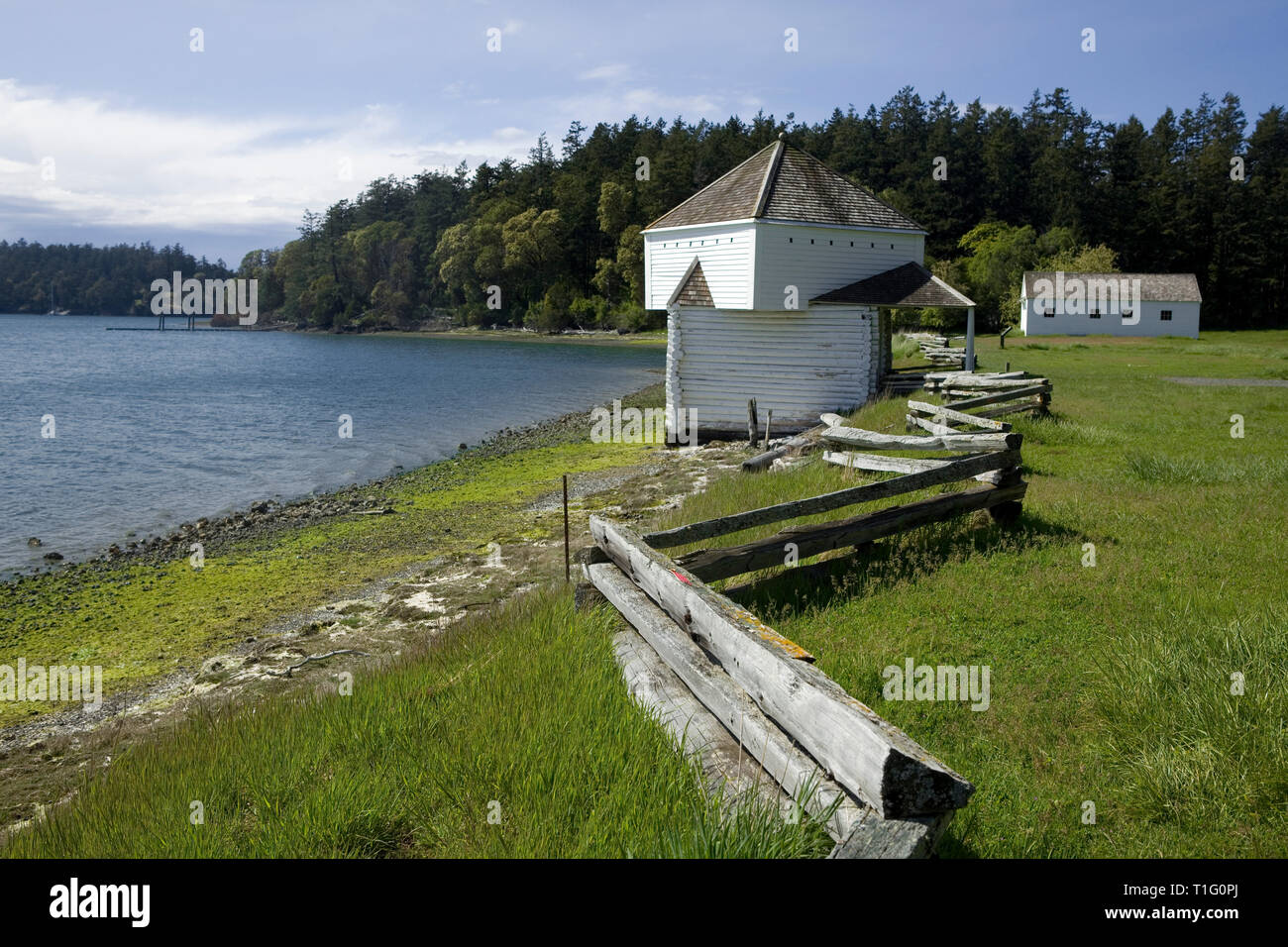 WA05455-00...WASHINGTON - English Camp on Garrison Bay in San Juan Island National Historic Park - San Juan Island. - Stock Image