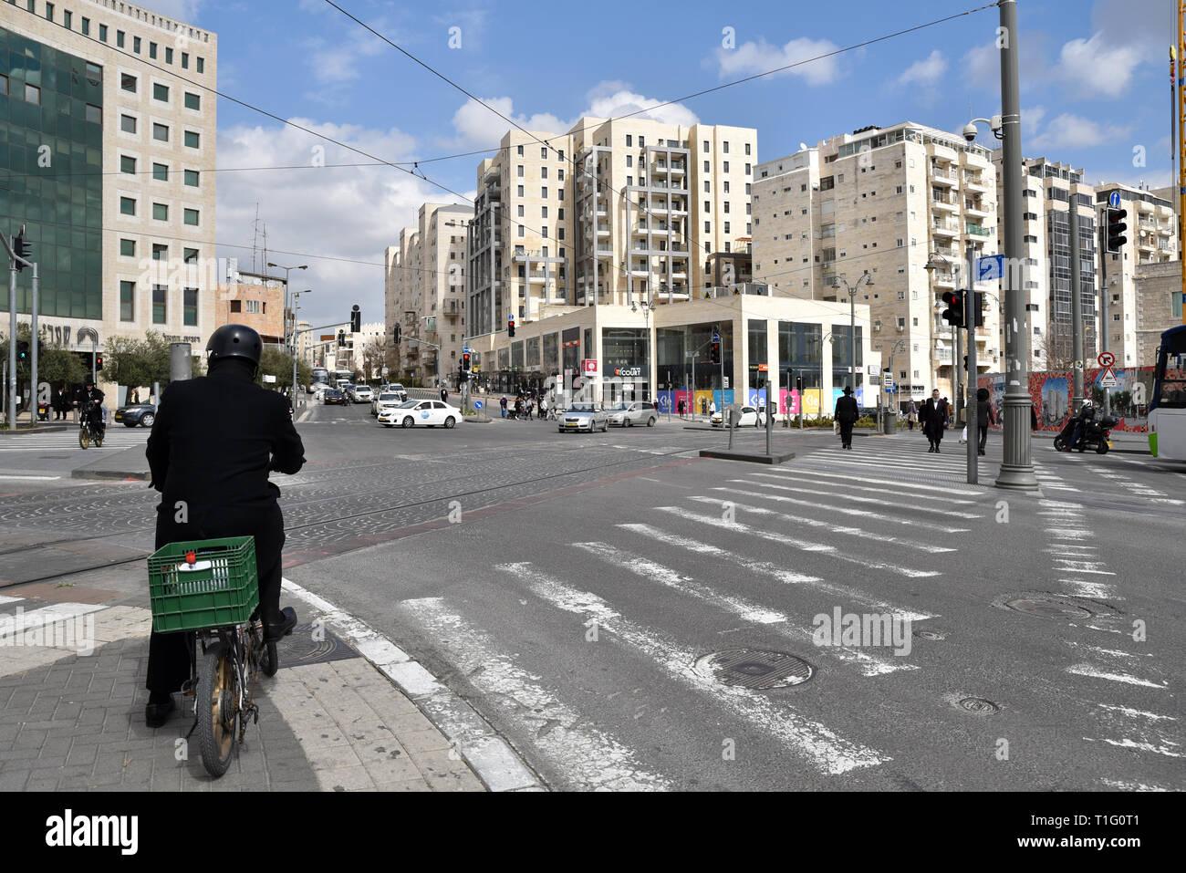 Nordau Square a junction in West Jerusalem - Stock Image