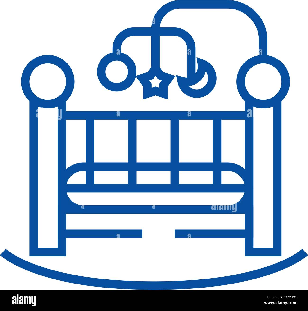 Baby bed,crib line icon concept. Baby bed,crib flat  vector symbol, sign, outline illustration. - Stock Vector