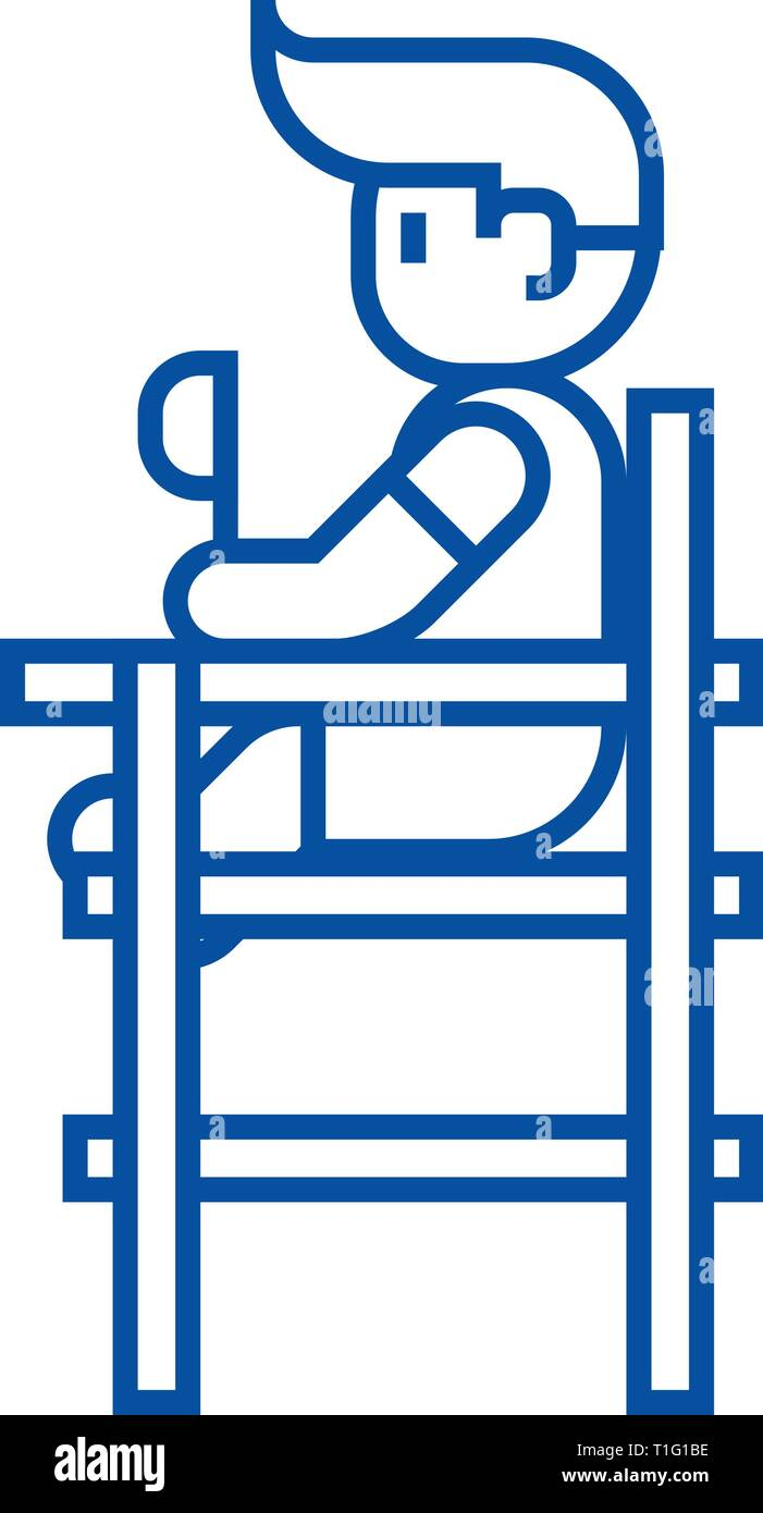 Baby boy sitting on high chair line icon concept. Baby boy sitting on high chair flat  vector symbol, sign, outline illustration. - Stock Vector
