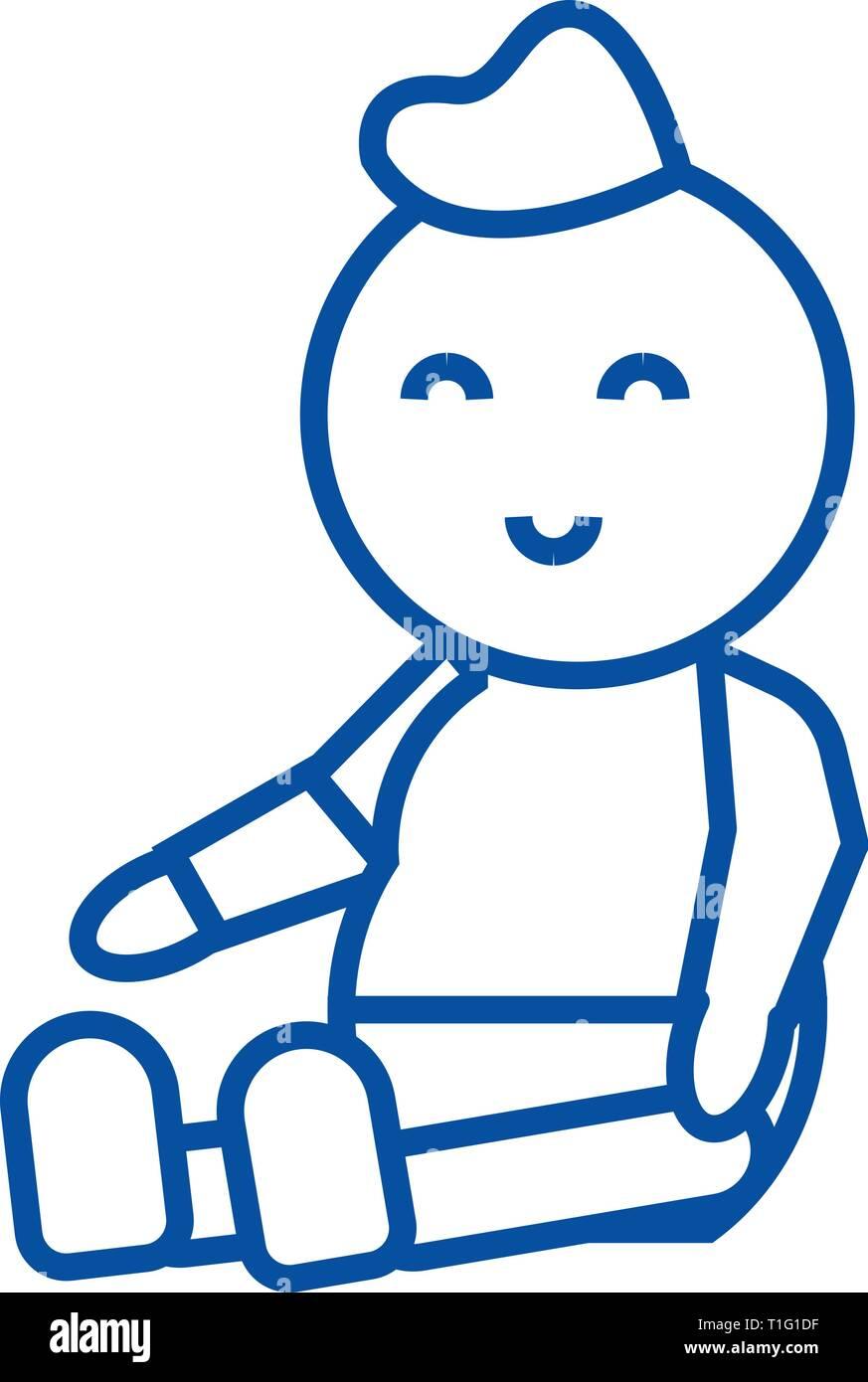 Baby,newborn line icon concept. Baby,newborn flat  vector symbol, sign, outline illustration. - Stock Vector