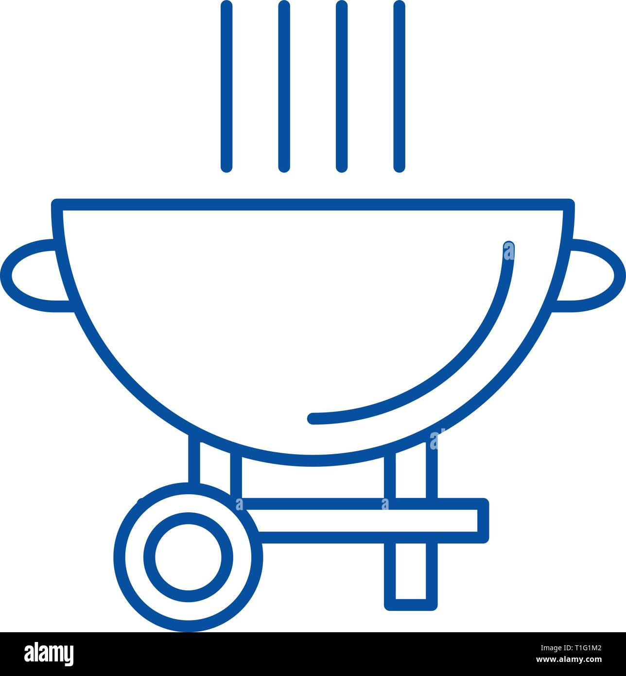 Barbecue grill line icon concept. Barbecue grill flat  vector symbol, sign, outline illustration. - Stock Vector