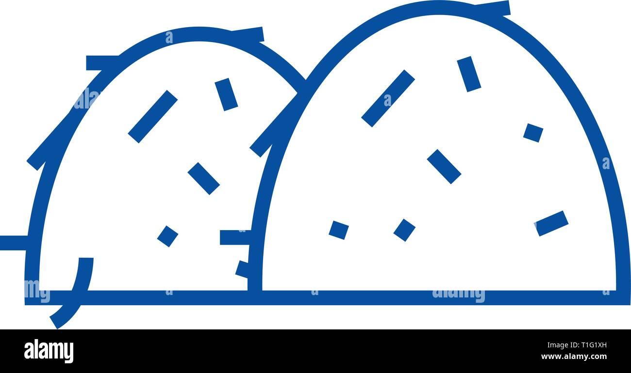 Bay hales line icon concept. Bay hales flat  vector symbol, sign, outline illustration. - Stock Vector