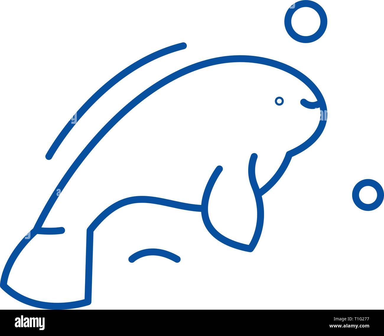 Beluga line icon concept. Beluga flat  vector symbol, sign, outline illustration. - Stock Vector