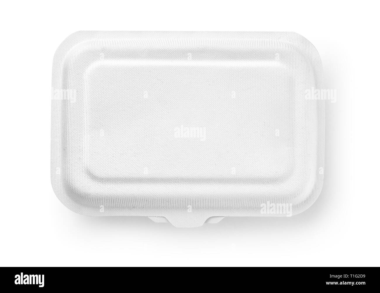 Top view of biodegradable paper food box isolated on white - Stock Image
