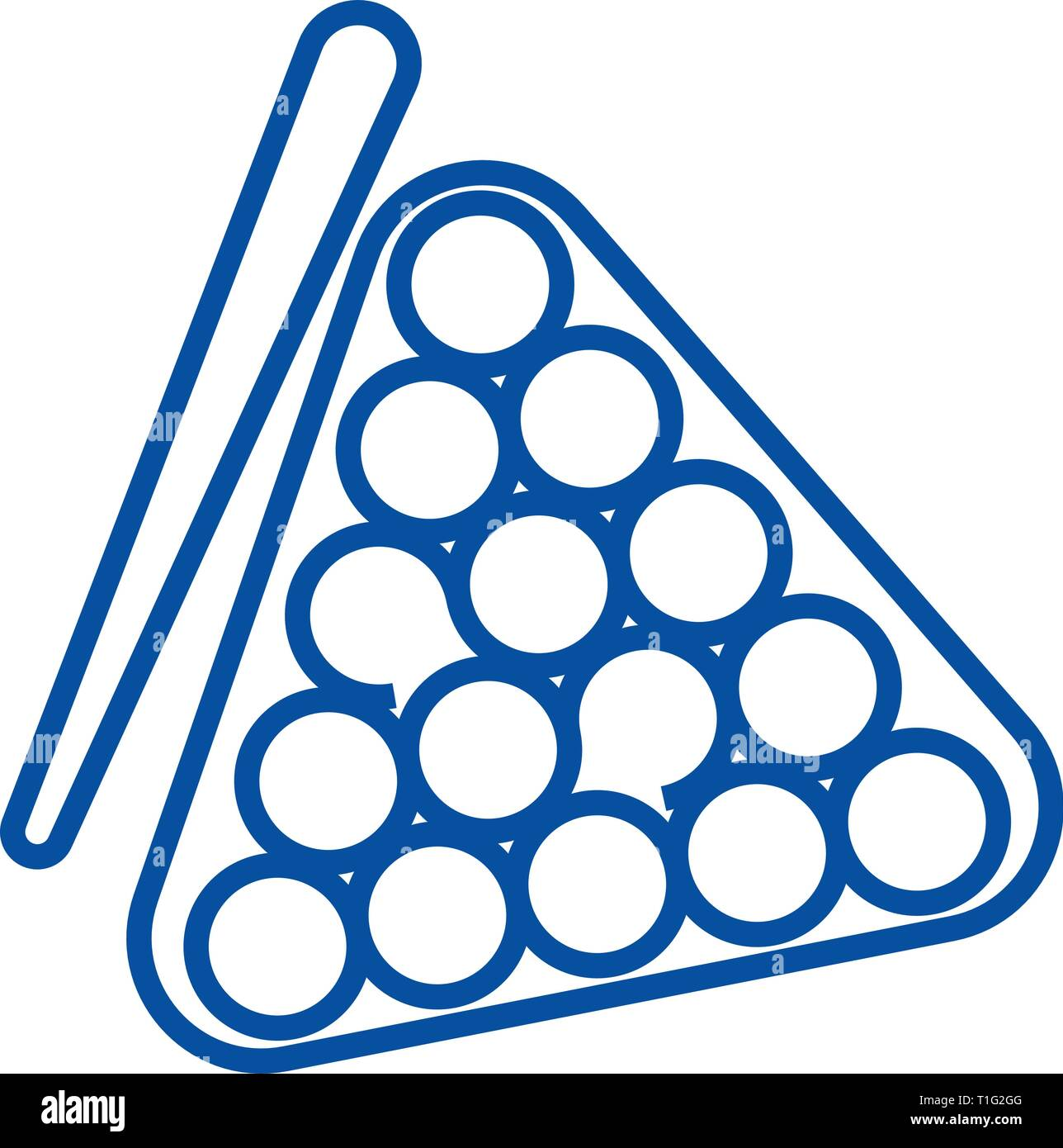 Billiards line icon concept. Billiards flat  vector symbol, sign, outline illustration. - Stock Vector